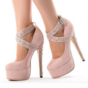 Women's Chole Pink Platform Heels Crystal Ankle Straps Stiletto Heel Pumps