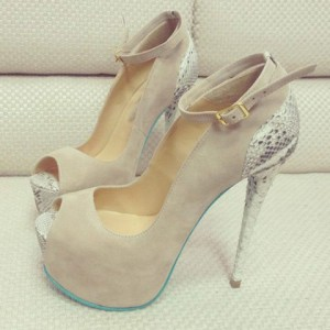 Women's Grey Ankle Strap Buckle Stiletto Heels Pumps Platform Shoes
