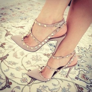 Sexy High Stiletto Heels Nude T-Strap Rivets Pumps for Date ,Work