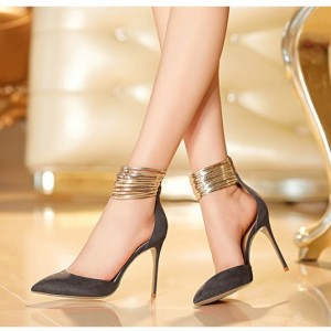Grey and Gold Stiletto Heels Ankle Strap Closed Toe Sandals