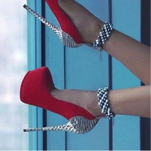 Red and Silver Stripper Heels Beads Ankle Strap Platform Pumps