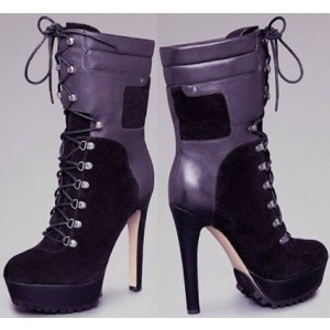 Purple and Black Lace up Heels Suede Platform Ankle Boots