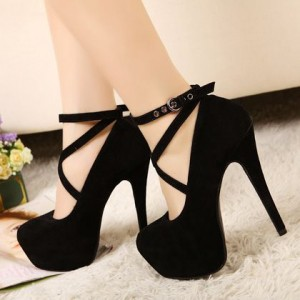 Women's Leila Black Cross Over Buckle Stiletto Heel Ankle Strap Pumps