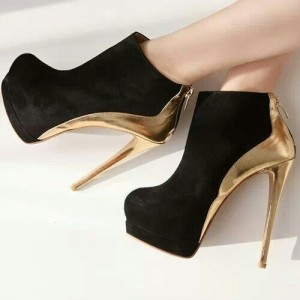 Leila Black Golden Heel Ankle Stiletto Boots Platform Heels