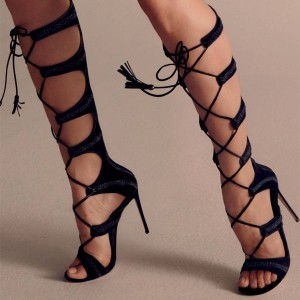 Women's Black Strappy Gladiator Sandals Stiletto Heels Suede Lace-up Knee-high Sandals