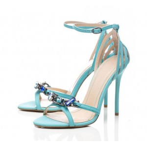 Cyan Colorful Crystal Decorated Ankle Buckle Stiletto Sandals