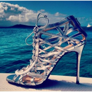 Women's  Phoebe Silver Peep Toe Wrapping Caged Lace-up Heels Stiletto Heel Sandals