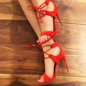 Women's Coral Red Open Toe Lace Up Sandals Stiletto Heels