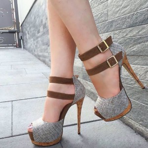 Grey Buckles Platform Heels Peep Toe Stiletto Heel Ankle Strap Sandals