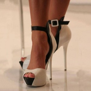 Women's White Platform Heels Buckle Ankle Strap High Heel Shoes Pumps