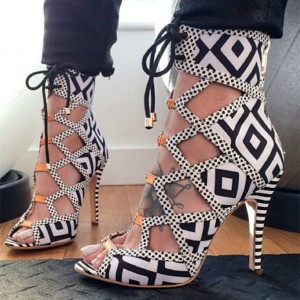 Black and White Heels Peep Toe Lace up Sandals