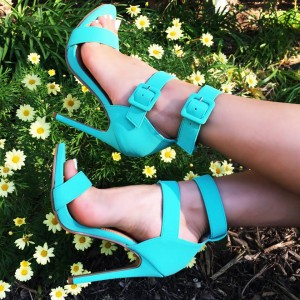Women's Cyan Two-Buckles Stiletto Heel Ankle Strap Sandals