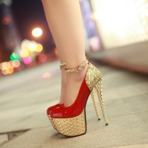 Women's Red and Golden Rivets Decorated Stiletto Heel Pumps Stripper Heels