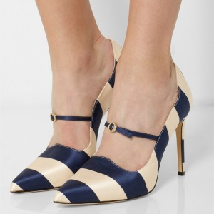Navy and Beige Stripes 3 Inch Heels Stiletto Heel Pumps