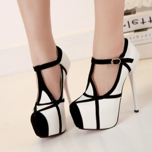 Women's Black and White T-strap Stiletto Heel Pumps Platform Heels