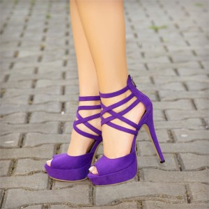 Purple Peep Toe Heels Suede Platform Strappy Sandals