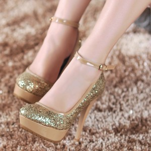Gold Sparkly Heels Ankle Strap Glitter Platform Pumps for Party