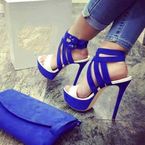 Royal Blue Heels Open Toe Platform Sandals Stiletto Heels