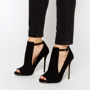 Black Peep Toe Heels Cut out Suede Ankle Strap Stiletto Heel Pumps