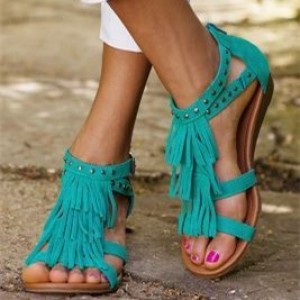 Turquoise Fringe Sandals Comfortable Flat Shoes