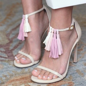 Lillian White Ankle Strap Stiletto Heels Tassels Upper Sandals