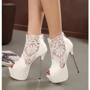 Women's Lillian White Peep Toe Platform Lace Ankle Boots Stripper Shoes