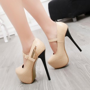 Beige Mary Jane Pumps Stiletto Heels Alligator Grain Platform High Heel Shoes