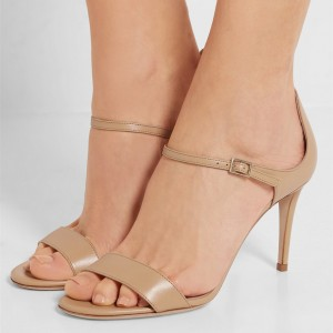 Women's Nude Ankle Strap Stiletto Heels Sandals