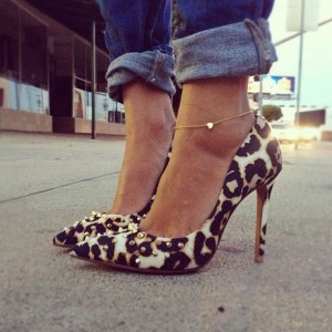 Women's Leopard Print Stiletto Heels Dress Shoes Pointed Toe Rivets Pumps