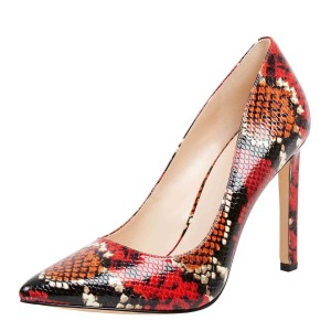 Women's Multi-color Stiletto Heels Dress Shoes Colorful Python Pointy Toe Pumps