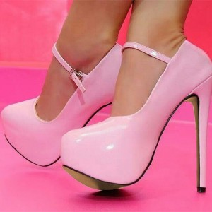 Pink Shoes 5 Inch Platform Stiletto Heel Mary Jane Pumps
