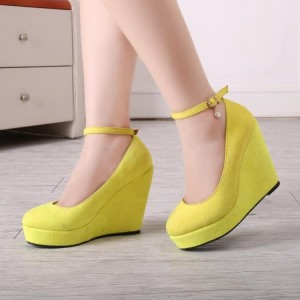 Women's Yellow Wedge Heel Pumps Ankle Strap Shoes