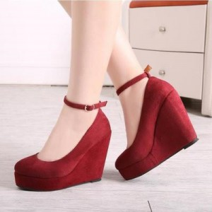 Dark Red Closed Toe Wedges Suede Platform Ankle Strap Pumps