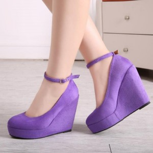 Purple Closed Toe Wedges Platform Suede Ankle Strap Pumps