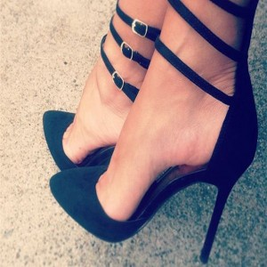 Black Pumps Strappy Buckles Pointed Toe Stilettos High Heels US Size 4-15