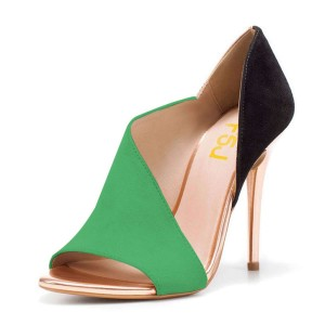 FSJ Green and Black Open Toe Cut Out Stiletto Heel Pumps