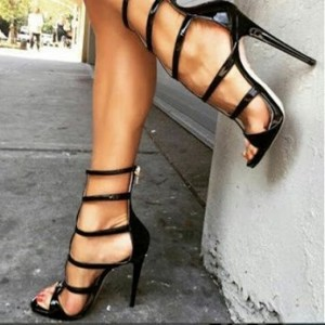 Black Stiletto Heels Open Toe Sexy Mid-calf Sandals