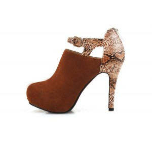 Brown Fashion Boots Heeled Python Ankle Booties