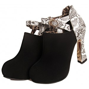 Black Fashion Boots Spool Heel Python Ankle Booties