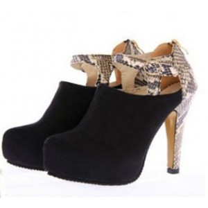 Black and Python Fashion Boots Chunky Heel Ankle Booties