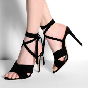 Black Strappy Sandals Stiletto Heel Open Toe Suede Sexy Shoes