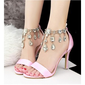 Pink Wedding Sandals Jeweled Satin Stiletto Heels for Bridesmaid
