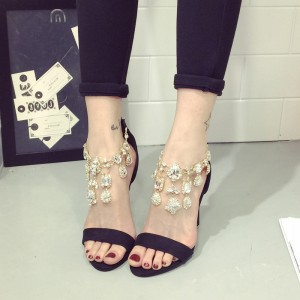 Black Rhinestone Heels Open Toe Stiletto Heel Jeweled Sandals