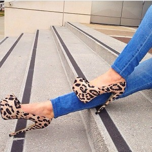 Leopard Print Stiletto Heels Suede Platform Pumps High Heel Shoes
