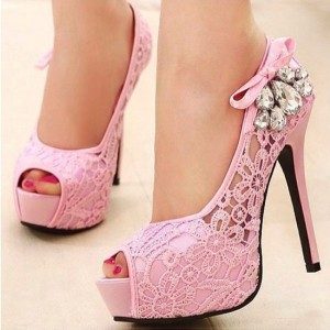Pink Lace Heels Peep Toe Rhinestone Platform Wedding Shoes
