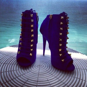 Royal Blue Peep Toe Booties Lace up Studded Boots for Women