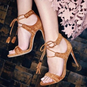 Women's Tan Lace Up Ankle Strap Sandals