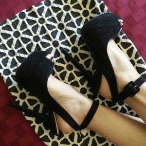 Black Ankle Strap Sandals Slingback High Heels Shoes