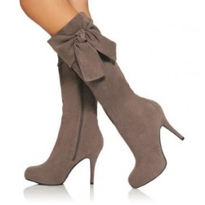 Brown Side Bow Suede Lone Boots Stiletto Heel Knee higeh Boots