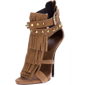 Light Brown Fringe Sandals Open Toe Suede Stiletto Heels Sandals